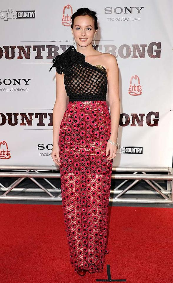 """Gossip Girl"" Leighton Meester unsuccessfully attempted to bring her NYC sense of style to the Nashville premiere of ""Country Strong"" in this dizzying Marc Jacobs dress. Jon Kopaloff/<a href=""http://www.filmmagic.com/"" target=""new"">FilmMagic.com</a> - November 8, 2010"
