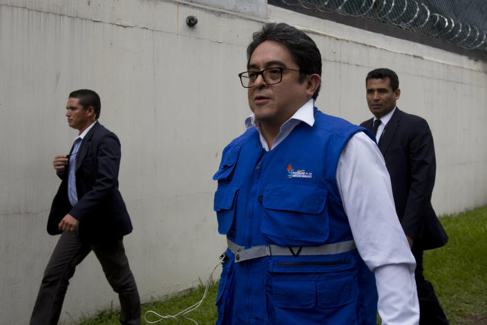 Guatemalan human rights prosecutor Jordan Rodas arrives to the United Nations International Commission Against Impunity, CICIG, headquarters in Guatemala City, Friday, Aug. 31, 2018. Guatemala president Jimmy Morales says he is not renewing mandate of U.N.-sponsored commission investigating corruption in the country. (AP Photo/Moises Castillo)