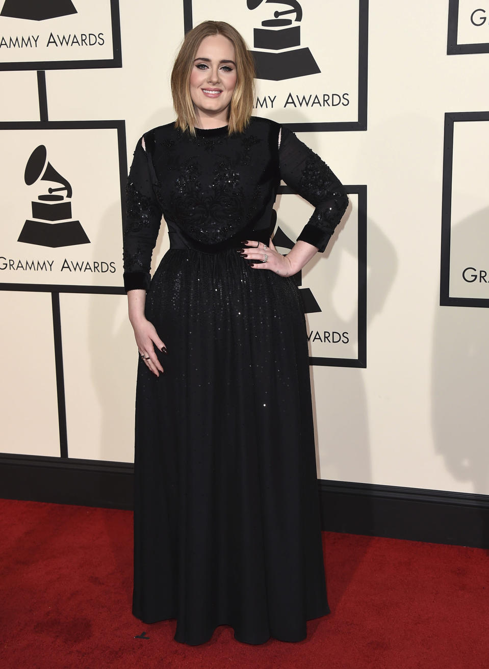 "FILE - In this Feb. 15, 2016 file photo, Adele arrives at the 58th annual Grammy Awards in Los Angeles. Adele is among several musicians who are objecting to their songs being used at President Donald Trump's campaign rallies. Adele made her objections clear when she learned her songs, ""Rolling in the Deep"" and ""Skyfall,"" were playing at Trump rallies. (Photo by Jordan Strauss/Invision/AP, File)"