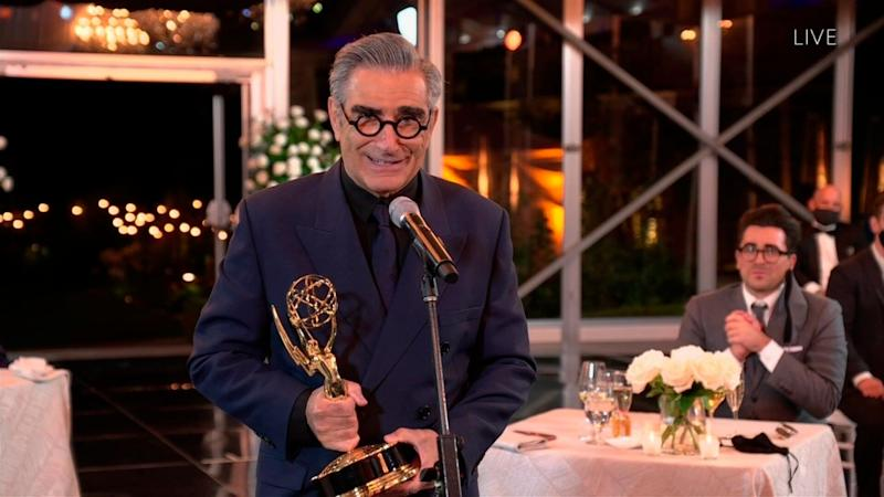 "Eugene Levy accepts the Emmy for Outstanding Lead Actor in a Comedy Series for ""Schitt's Creek"" during the 72nd Emmy Awards telecast on Sunday, Sept. 20, 2020 at 8:00 PM EDT/5:00 PM PDT on ABC. (Invision for the Television Academy/AP) (Photo: Invision/AP)"