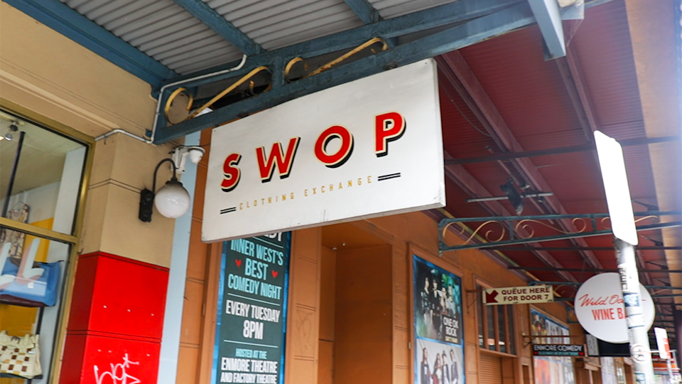 Outside image of Swop clothing exchange sign in Newtown