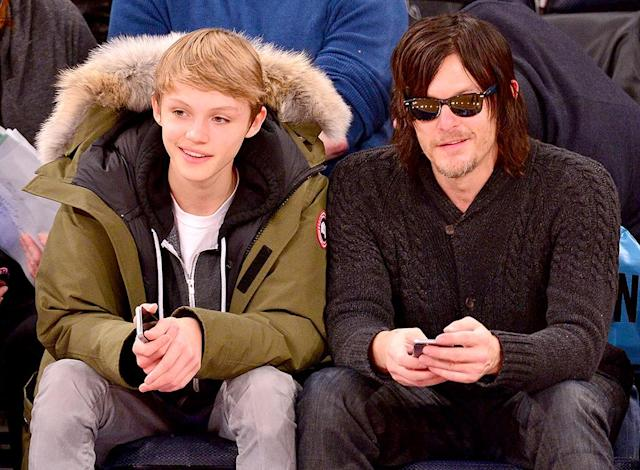 Mingus Reedus and Norman Reedus attend Brooklyn Nets vs New York Knicks at Madison Square Garden on December 2, 2014 in New York City (Photo by James Devaney/GC Images)