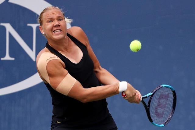 Kaia Kanepi of Estonia returns a shot during her third round match against Naomi Osaka of Japan on Day Six of the 2017 US Open at the USTA Billie Jean King National Tennis Center on September 2, 2017 in New York City (AFP Photo/Abbie Parr)
