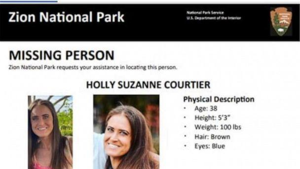 PHOTO: A flyer posted to Zion National Park's Twitter account includes information regarding the search for Holly Courtier, who was last seen in Oct. 6 on Zion National Park, Utah. (ZionNPS/Twitter)