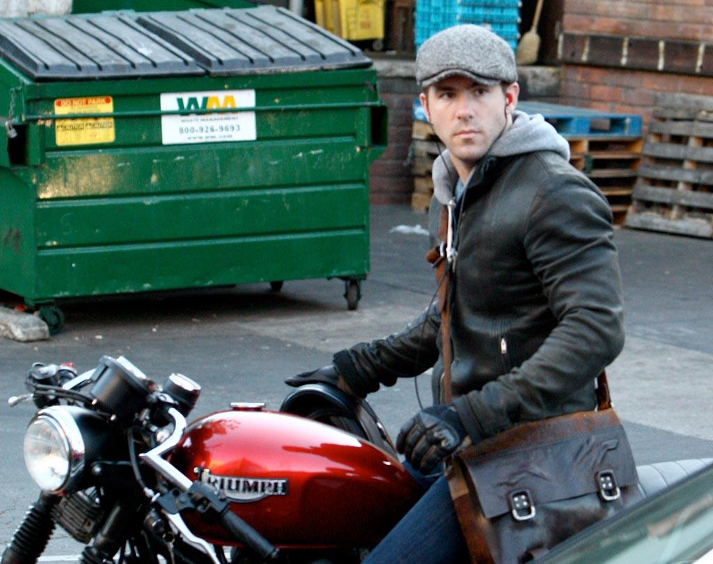 "There is nothing hotter than a man on a motorcycle, particularly when that man is Ryan Reynolds! IONU/<a href=""http://www.x17online.com"" target=""new"">X17 Online</a> - February 1, 2009"