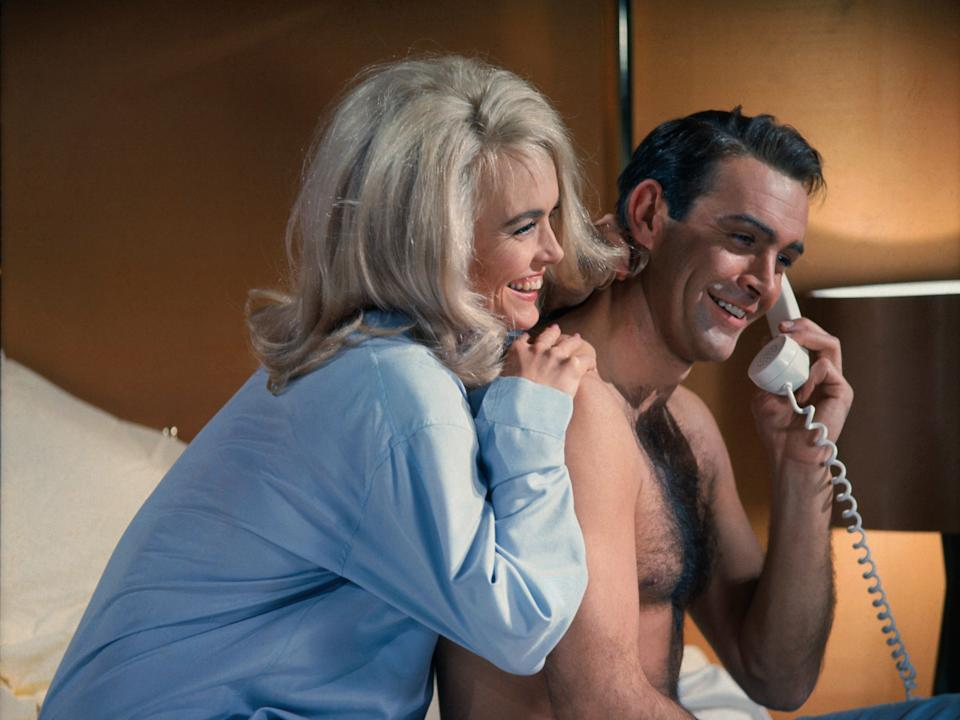 """A picture of Sean Connery and Shirley Eaton in """"Goldfinger."""""""