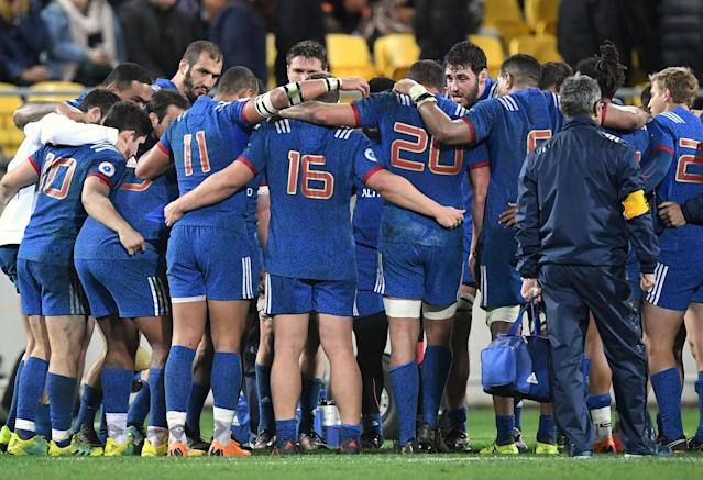 Rugby Union - June Internationals - New Zealand vs France - Westpac Stadium, Wellington, New Zealand - June 16, 2018 - French team players reacts after the game. REUTERS/Ross Setford