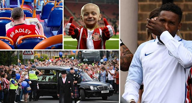 <p>Jermain Defoe wore his England shirt to the service while fans up and down the country wore shirts in tribute to Bradley </p>