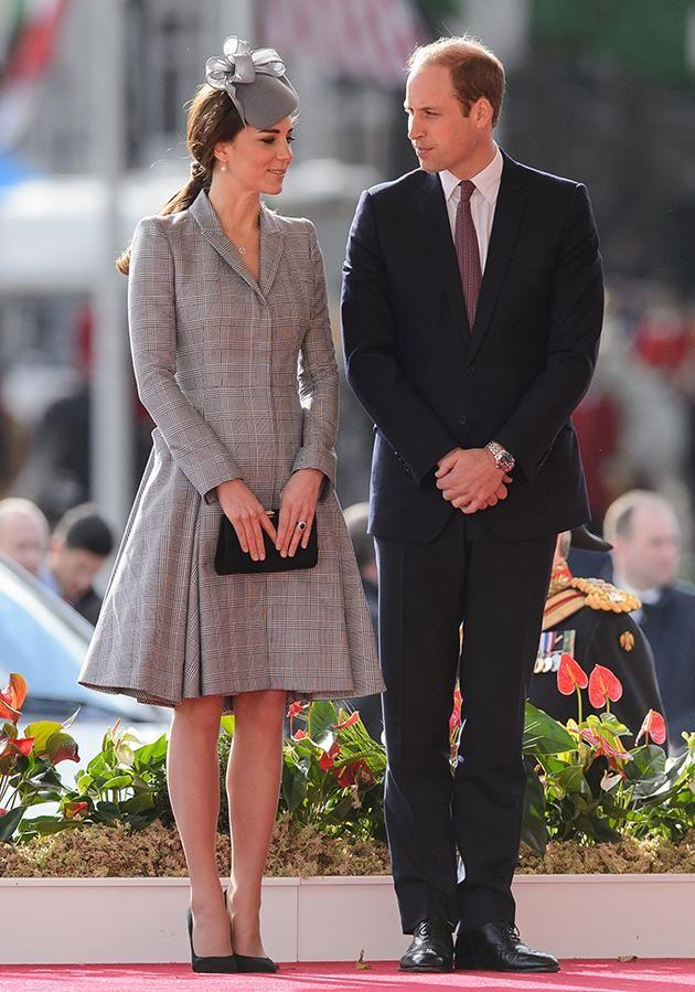The Duke has followed in the footsteps of his grandfather, who also doesn't wear a wedding ring. Here he is pictured with his wife, Kate Middleton. Photo: Getty.