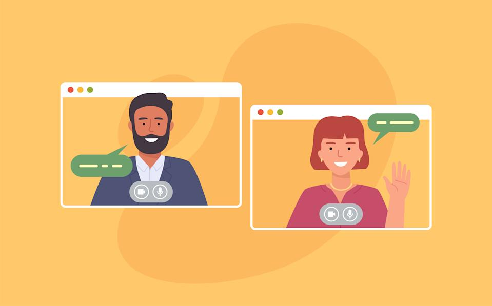 Video conference. Colleagues taking part in video conference in home. Working from home. Software for online communication. Vector illustration