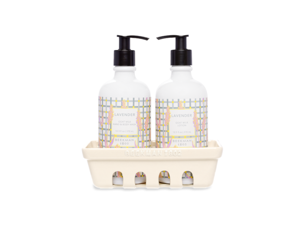 """<h2>Beekman 1802 Lavender Set of 2 Caddy</h2><br>Is there anything more soothing than the serene scent of lavender? """"These body lotions are ideal for Libra's finely tuned senses,"""" says Stardust of the goat milk-infused duo.<br><br><strong>Beekman 1802</strong> Lavender Set of 2 Caddy, $, available at <a href=""""https://go.skimresources.com/?id=30283X879131&url=https%3A%2F%2Fbeekman1802.com%2Fcollections%2Fhand-body-wash%2Fproducts%2Flavender-set-of-2-caddy"""" rel=""""nofollow noopener"""" target=""""_blank"""" data-ylk=""""slk:Beekman 1802"""" class=""""link rapid-noclick-resp"""">Beekman 1802</a>"""