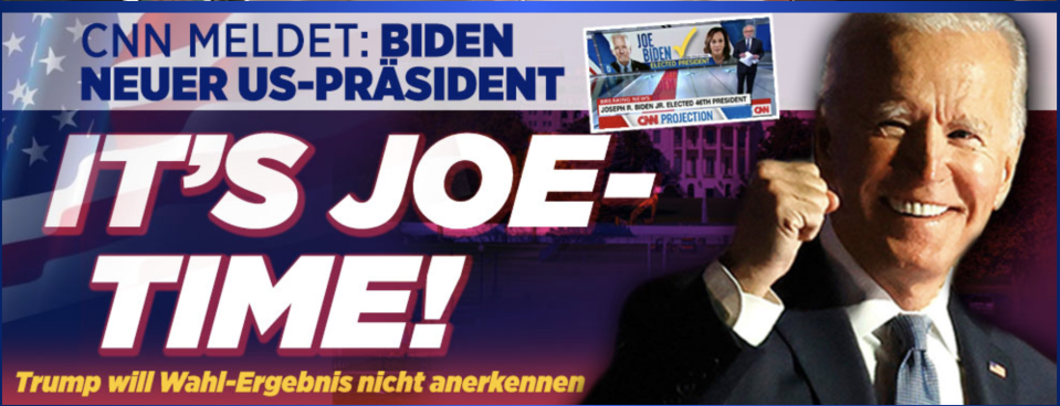 Bild says, 'It's Joe-Time! Trump refused to recognise the election result.' Credit: Das Bild