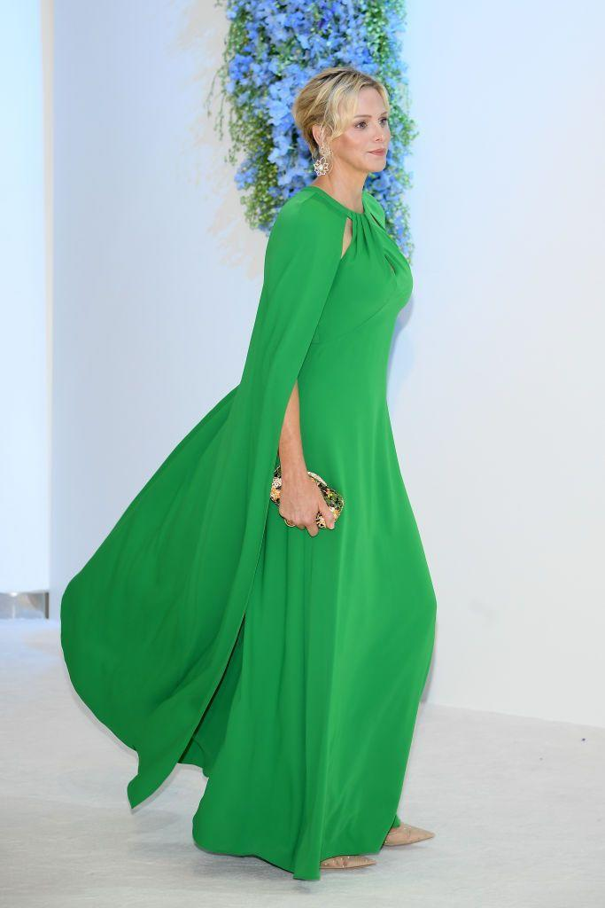 <p>Last year, Princess Charlene was a vision in emerald at the 71st Monaco Red Cross Ball. Charlene's Marchesa Notte gown flowed beautifully and included subtle, yet flattering, cutouts around the neckline. <br></p>