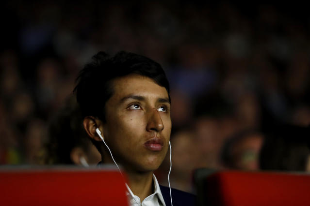 Colombia's Egan Bernal attends to the presentation of the Tour de France 2020 cycling race, in Paris, Tuesday Oct. 15, 2019. The 107th edition of the race starts on June 27 2019 to end on the Champs-Elysees avenue on July 19. (AP Photo/Thibault Camus)