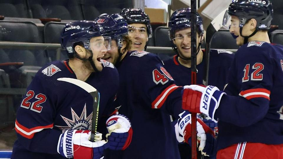 Anthony Bitetto celebrates his first goal as a Ranger