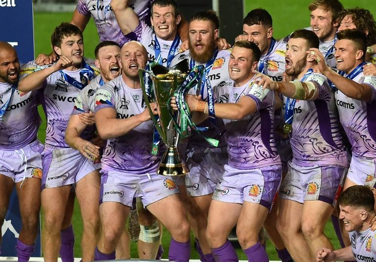 Exeter players celebrate their European Champions Cup final victory