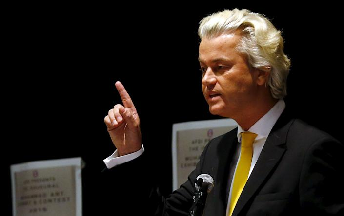 Far-right Dutch politician Geert Wilders speaks at the Muhammad Art Exhibit and Contest in Garland, Texas May 3, 2015. Two gunmen opened fire on Sunday at the art exhibit in Garland, Texas, that was organized by an anti-Islamic group and featured caricatures of the Prophet Mohammad and were themselves shot dead at the scene by police officers, city officials and police said. REUTERS/Mike Stone