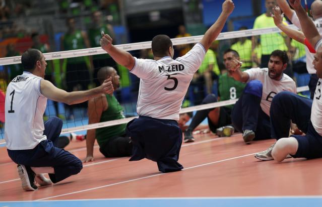 2016 Rio Paralympics - Sitting Volleyball - Men's Bronze Medal Match - Riocentro Pavilion 6 - Rio de Janeiro, Brazil - 18/09/2016. Mohamed Zeid (EGY) of Egypt celebrates. REUTERS/Ueslei Marcelino FOR EDITORIAL USE ONLY. NOT FOR SALE FOR MARKETING OR ADVERTISING CAMPAIGNS.