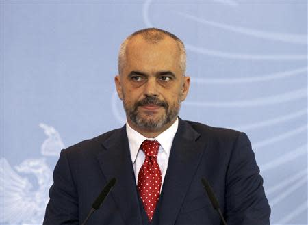 Albania's Prime Minister Edi Rama holds a news conference on the dismantling of Syria's chemical weapons in Tirana in this November 15, 2013 file photo. REUTERS/Arben Celi/Files