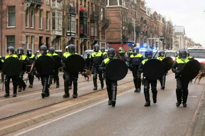 Protest against COVID-19 restrictions in Amsterdam