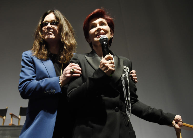 "Ozzy Osbourne, left, joins his wife Sharon during the ""Ozzfest Meets Knotfest"" news conference at the Hollywood Palladium on Thursday, May 12, 2016, in Los Angeles. The multi-stage camping festival will be held on Sept. 24-25 at the San Manuel Amphitheater and Festival Grounds in San Bernardino, Calif. (Photo by Chris Pizzello/Invision/AP)"