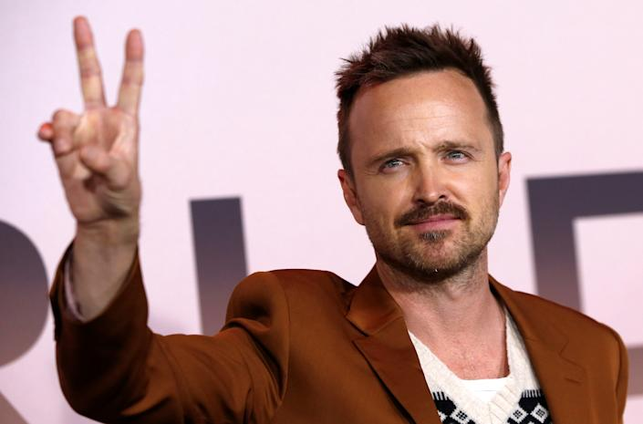 """Cast member Aaron Paul poses at the premiere for the season 3 of the television series """"Westworld"""" in Los Angeles, California, U.S., March 5, 2020. REUTERS/Mario Anzuoni"""