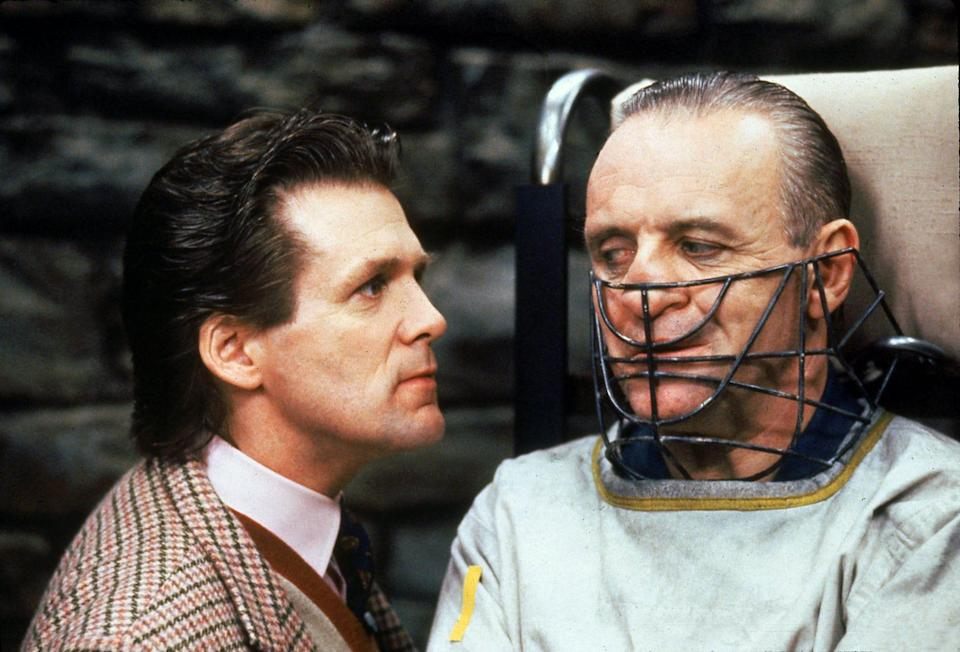 "Anthony Hopkins (right, with Anthony Heald) is the cannibalistic serial killer – and horror icon – Hannibal Lecter in ""The Silence of the Lambs."""
