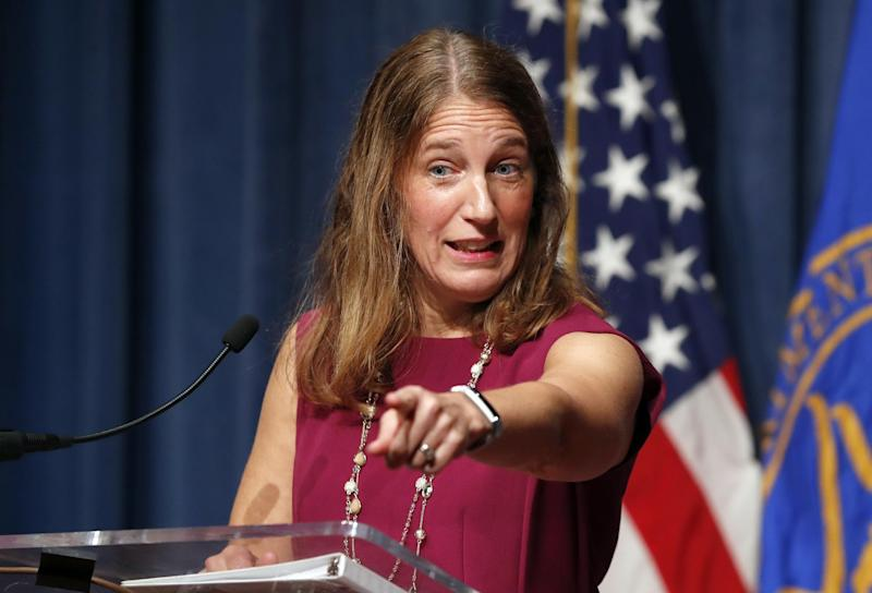 """In this Oct. 19, 2016 photo, Health and Human Service (HHS) Secretary Sylvia Burwell speaks during a news conference at the HHS in Washington. The Obama administration says 6.4 million people have signed up so far this year for subsidized private insurance coverage through HealthCare.gov. Despite rising premiums, dwindling insurers, and a Republican vow to repeal """"Obamacare,"""" enrollment is running ahead of last year's pace. (AP Photo/Alex Brandon)"""