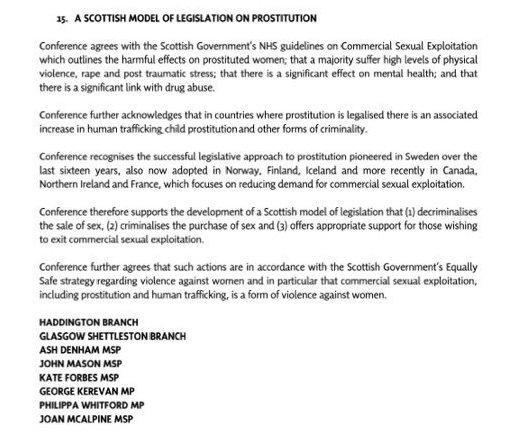 The motion backing changes to prostitution laws, proposed by Ash Denham MSP (Common Space)