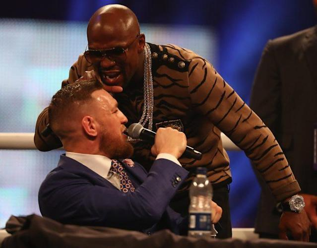 Floyd Mayweather Jr. screams at Conor McGregor during the fourth and final newsconference during the world promotional tour. (Getty Images)