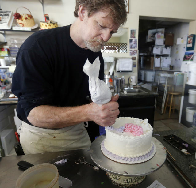 Masterpiece Cakeshop owner Jack Phillips at his store in 2014. (Photo: Brennan Linsley/AP)