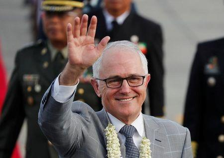 Australia Prime Minister Malcolm Turnbull waves to the crowd upon his arrival to attend the ASEAN Summit and related meetings in Clark, Pampanga,