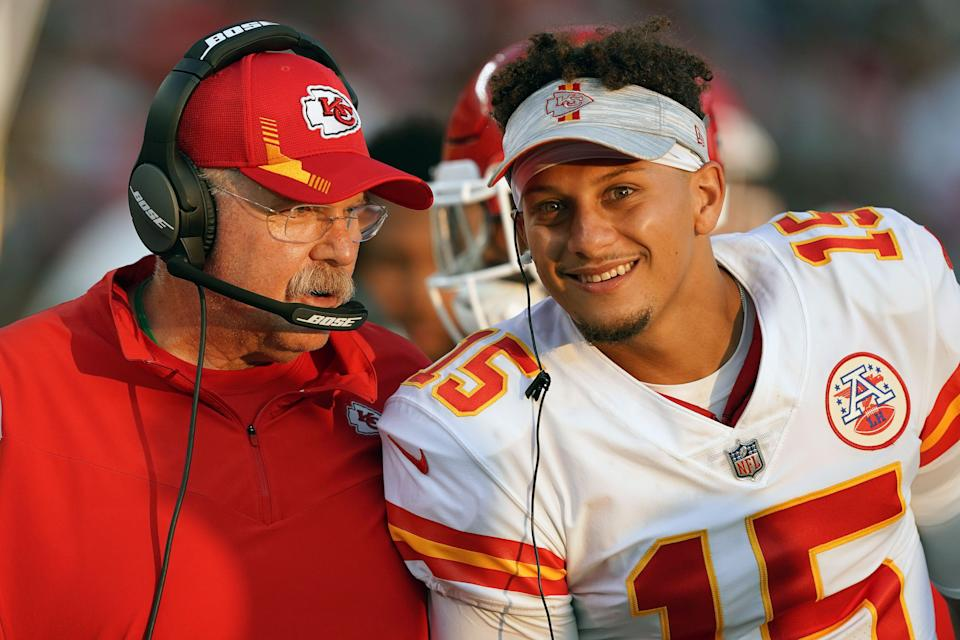 The Kansas City Chiefs' Patrick Mahomes is the early favorite for NFL MVP in 2021, while head coach Andy Reid is among the leading contenders for Coach of the Year.