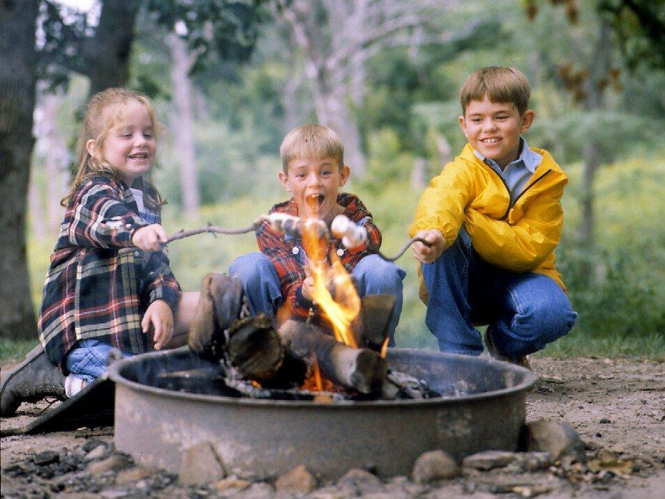 Kids Roast Marshmallows Open Fire At Camp