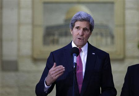 U.S. Secretary of State Kerry gives a statement to the press after the meeting with Palestinian President Abbas in Ramallah