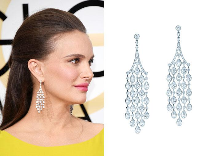 Natalie Portman in Tiffany fringe earrings at the 2017 Golden Globes. Photo: Venturelli/WireImage; Jewels courtesy