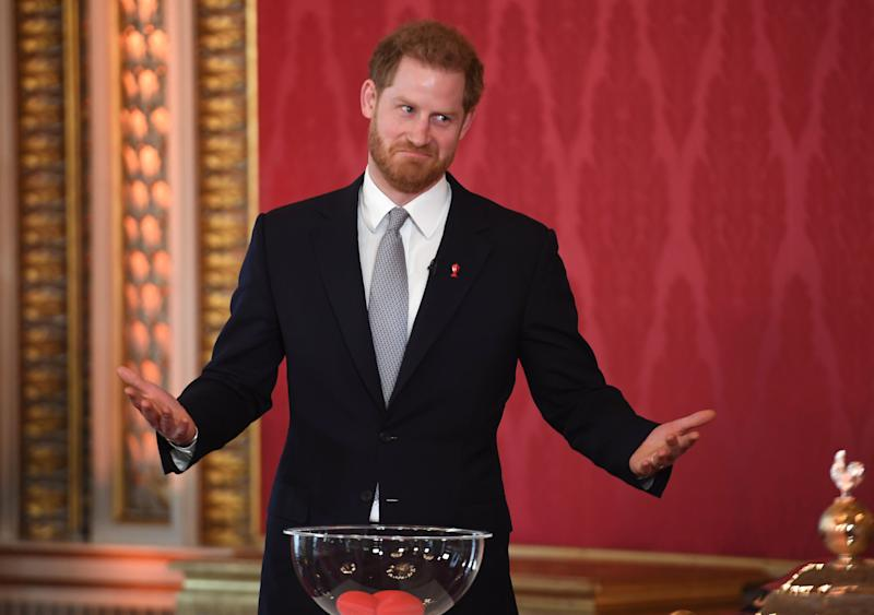 The Duke of Sussex hosts the Rugby League World Cup 2021 draws at Buckingham Palace on Jan. 16 in London.  (Photo: WPA Pool via Getty Images)