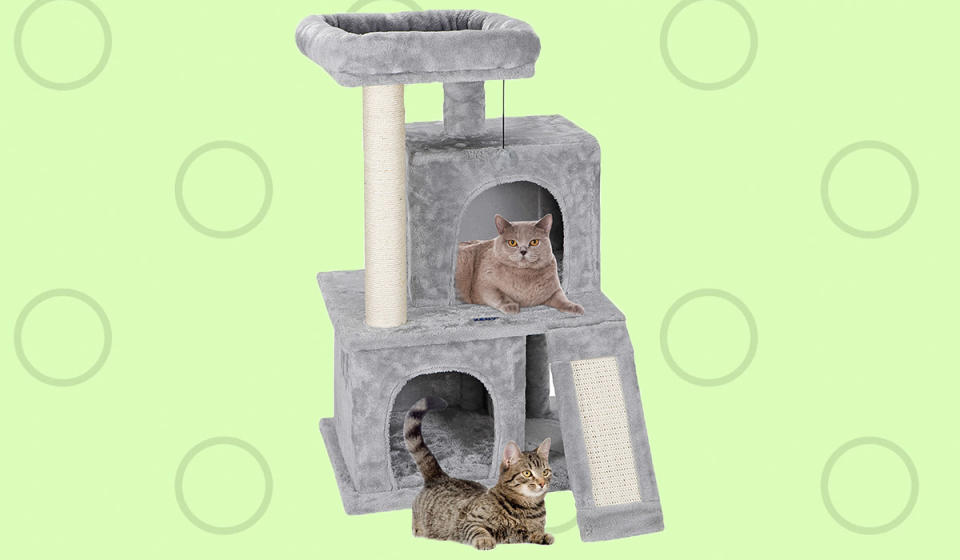 Clawdia and Purrcy will love their kitty condo, and your furniture will thank you. (Photo: Walmart)