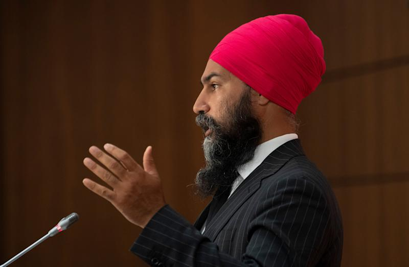 NDP Leader Jagmeet Singh speaks during a news conference on July 8, 2020 in Ottawa. (Photo: Adrian Wyld/CP)