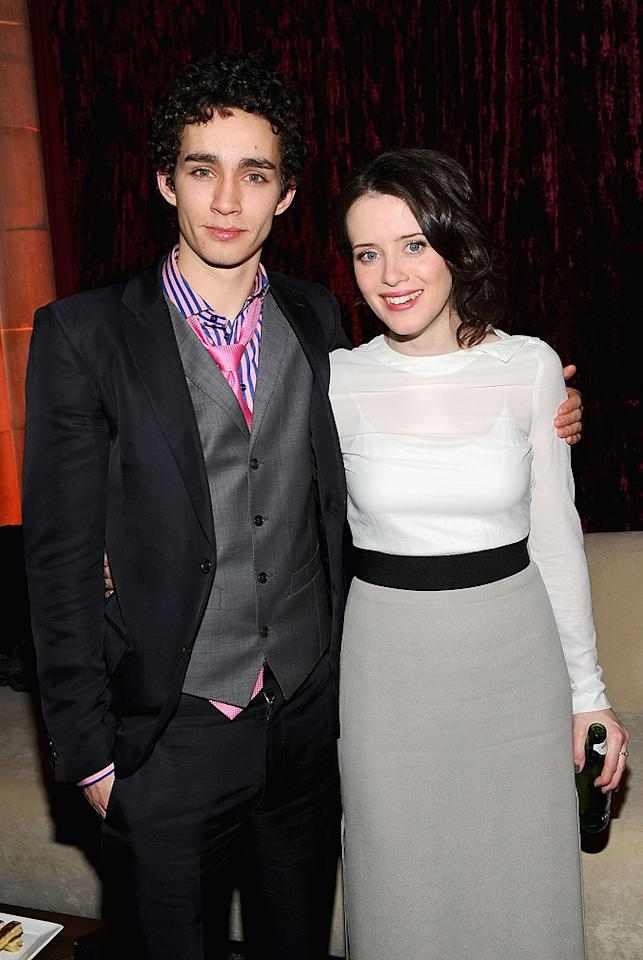"""<a href=""""http://movies.yahoo.com/movie/contributor/1809626347"""">Robert Sheehan</a> and <a href=""""http://movies.yahoo.com/movie/contributor/1810122835"""">Claire Foy</a> at the New York City premiere of <a href=""""http://movies.yahoo.com/movie/1810055815/info"""">Season of the Witch</a> on January 4, 2010."""