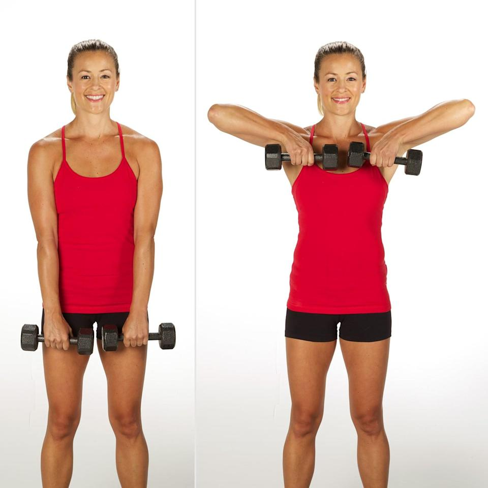"""<p>This move recruits the muscles that support your shoulder blades, said physical therapist and NSCA-certified strength and conditioning coach <a href=""""https://www.drmalekpt.com/"""" class=""""link rapid-noclick-resp"""" rel=""""nofollow noopener"""" target=""""_blank"""" data-ylk=""""slk:Leada Malek"""">Leada Malek</a>, DPT. The upright row """"forces you to emphasize a good posture while doing it,"""" she explained. The muscles you're targeting """"not only help with posture, but provide the basis of a strong and stable shoulder prepared for more advanced movements, like overhead presses.""""</p> <ul> <li>Stand with your feet hip-width apart. Hold a dumbbell in each hand with your palms facing your body, shoulders directly over your pelvis, and a slight bend in your knees. Brace your core and pull your abs in toward your spine.</li> <li>Keep the dumbbells close to your body as you raise them toward your shoulders, bending your elbows out to the sides. As you move, brace your core and keep your torso still. Stop when you get to chest height.</li> <li>Slowly lower the dumbbells back to the starting position.</li> <li>This counts as one rep.</li> </ul>"""