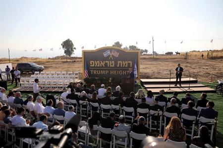 Israeli Prime Minister Benjamin Netanyahu speaks during a ceremony to unveil a sign for a new community named after U.S. President Donald Trump, in the Israeli-occupied Golan Heights