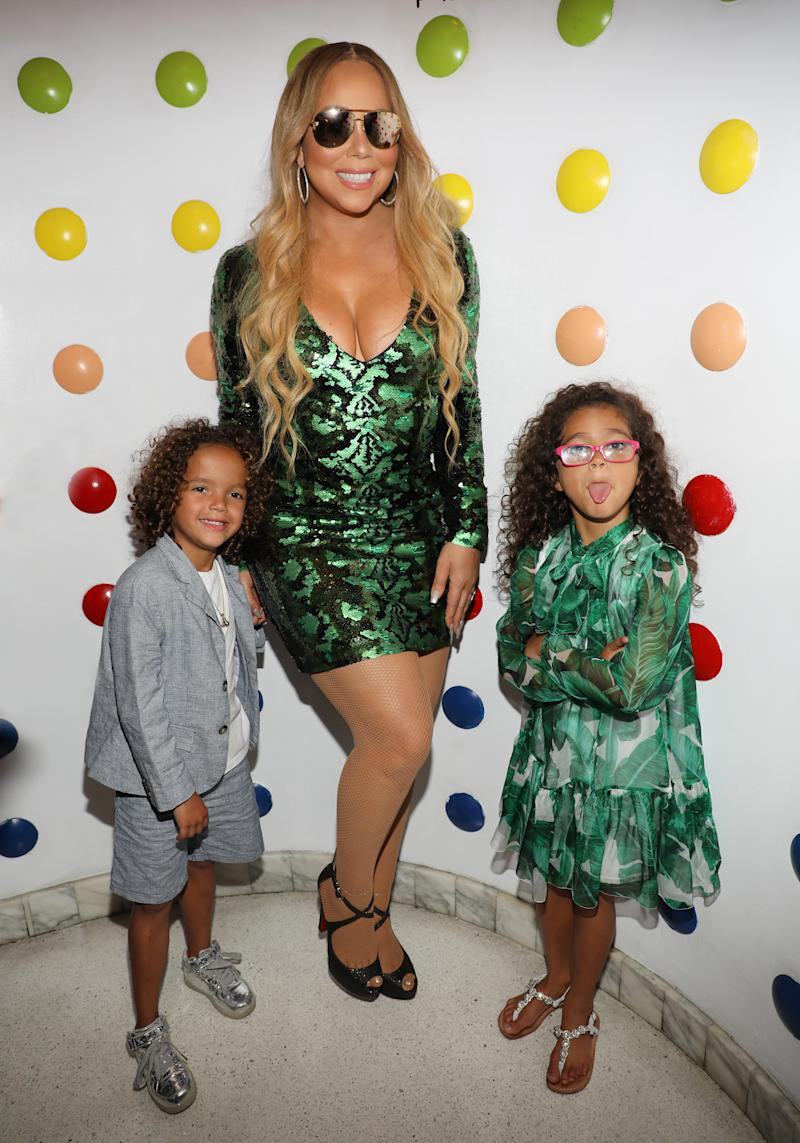MIAMI BEACH, FL - AUGUST 10: Mariah Carey and her children Moroccan and Monroe attend the Mariah Carey concert after party at Sugar Factory American Brasserie on Ocean Drive on August 10, 2017 in Miami Beach, Florida. (Photo by Alexander Tamargo/Getty Images for Sugar Factory American Brasserie)