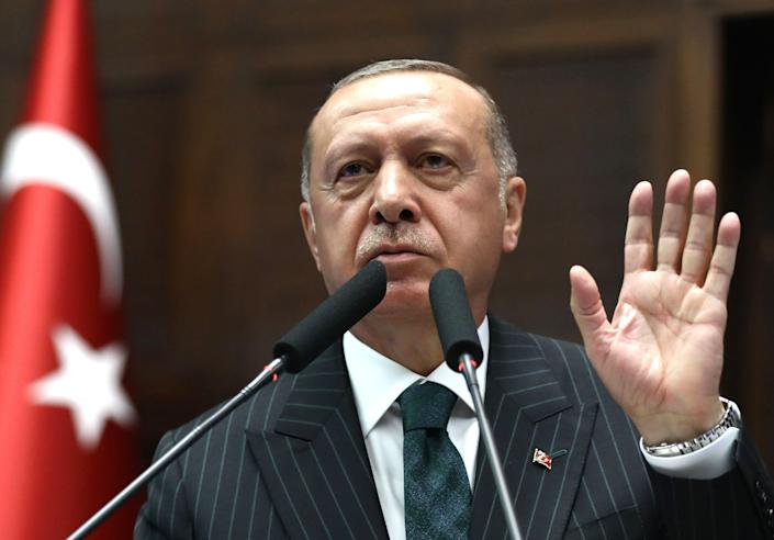 Turkish President and leader of Turkey's ruling Justice and Development  Party Recep Tayyip Erdogan on June 25, 2019.