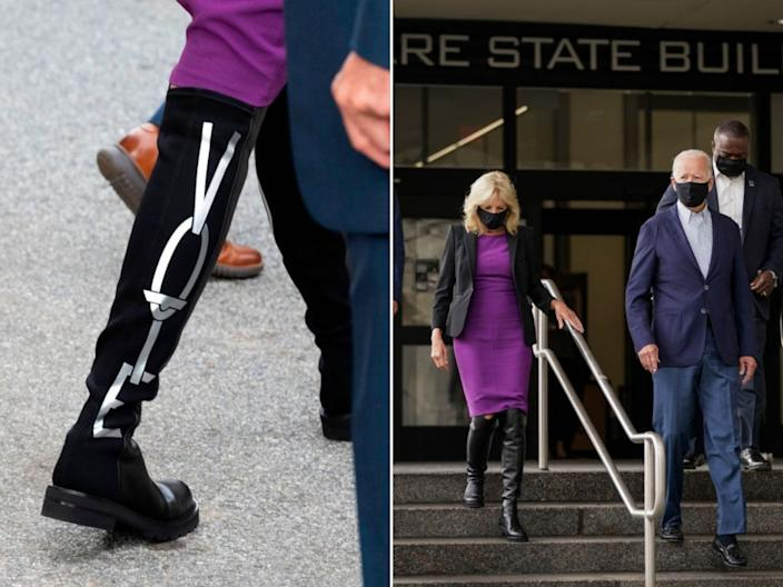 """Stuart Weitzman """"Vote"""" boots worn by Jill Biden as she departs the state building after voting in the Delaware state primary in Wilmington, Delaware, on September 14. <p class=""""copyright"""">JIM WATSON/AFP via Getty Images; Drew Angerer/Getty Images</p>"""