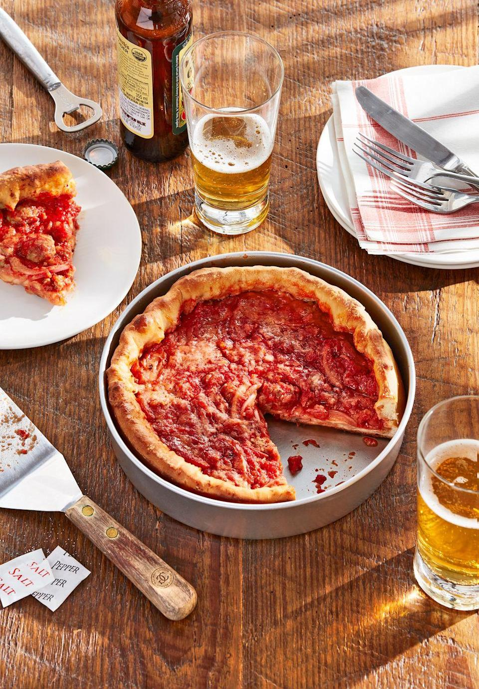 """<p>If Dad's a fan of <em>Da Bears</em>, the Blues Brothers, or any other part of the Windy City's charm, he may appreciate a homemade slice of their famed pizza. It's easier than you think!</p><p><strong><a href=""""https://www.countryliving.com/food-drinks/a35856123/chicago-deep-dish-pizza-recipe/"""" rel=""""nofollow noopener"""" target=""""_blank"""" data-ylk=""""slk:Get the recipe"""" class=""""link rapid-noclick-resp"""">Get the recipe</a>.</strong></p>"""