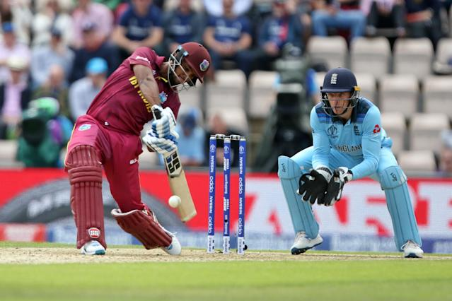 14th June 2019, Hampshire Bowl, Southampton, Hampshire, England; ICC World Cup Cricket, England versus West Indies; Nicholas Pooran hits the ball for two runs as Jos Buttler keeps wicket (photo by Nick Atkins/Action Plus via Getty Images)