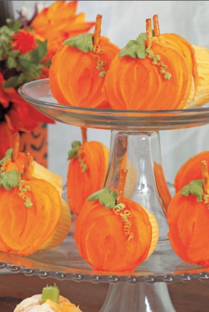 """<p>For these vibrant pumpkins, you can whip up a basic cupcake recipe or pre-made batter and then just top them off with orange-tinted buttercream frosting and a pretzel stem.</p><p><em><a href=""""https://www.womansday.com/food-recipes/food-drinks/a28834556/pumpkin-patch-cupcakes-recipe/"""" rel=""""nofollow noopener"""" target=""""_blank"""" data-ylk=""""slk:Get the Pumpkin Patch Cupcakes recipe."""" class=""""link rapid-noclick-resp"""">Get the Pumpkin Patch Cupcakes recipe.</a></em></p>"""