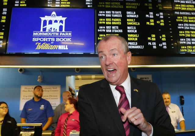 New Jersey Governor Phil Murphy, arrivers to make the first wager with Monmouth Park Sports Book at Monmouth Park Racetrack. Thursday, June 14, 2018 in Oceanport, NJ. (AP Photo/Noah K. Murray)