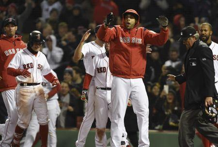 Apr 5, 2017; Boston, MA, USA; Boston Red Sox starting pitcher David Price (24) reacts after a walk-off home run by catcher Sandy Leon (3) not pictured during the twelfth inning against the Pittsburgh Pirates at Fenway Park. Mandatory Credit: Bob DeChiara-USA TODAY Sports
